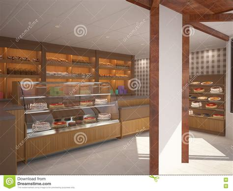 Xs Floor Plan by 3d Visualization Of A Bakery Interior Design Stock