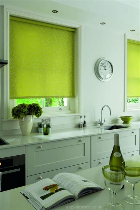 lime green and silver floral patterned kitchen roller - Lime Green Kitchen Blinds