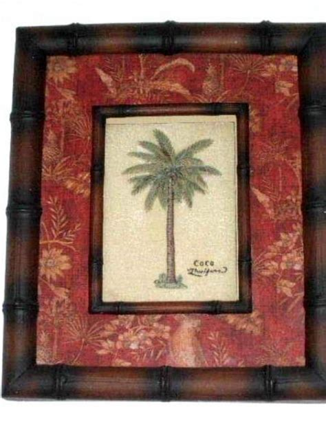 Tropical Coco Palm Tree Wall Decor Art Print Framed Shadowbox