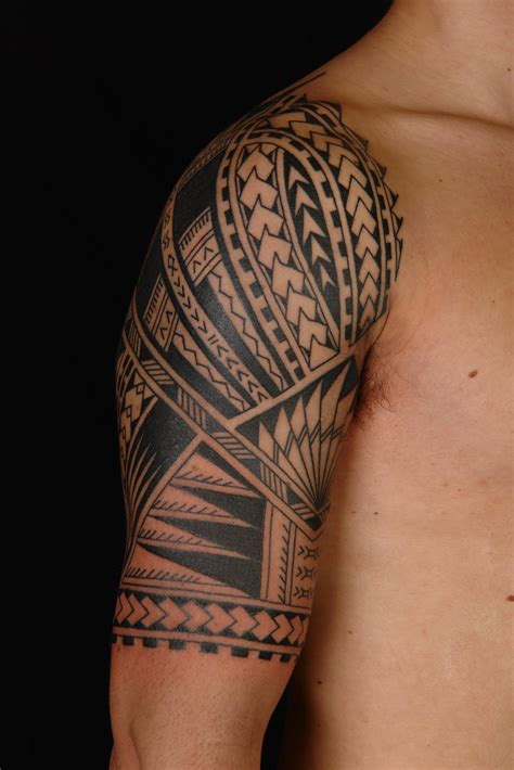 full sleeve tribal tattoo maori polynesian polynesian half sleeve