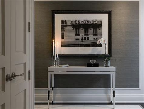 grey wallpaper office white console table contemporary den library office