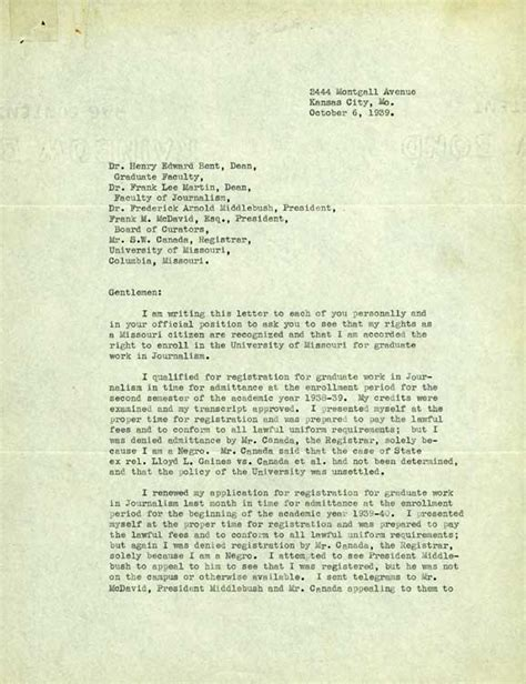Appeal Letter Uw Lucile Bluford Historic Missourians The State Historical Society Of Missouri