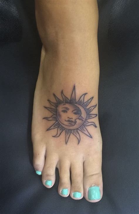 sun and moon foot tattoo mona and sun foot foot tattoos