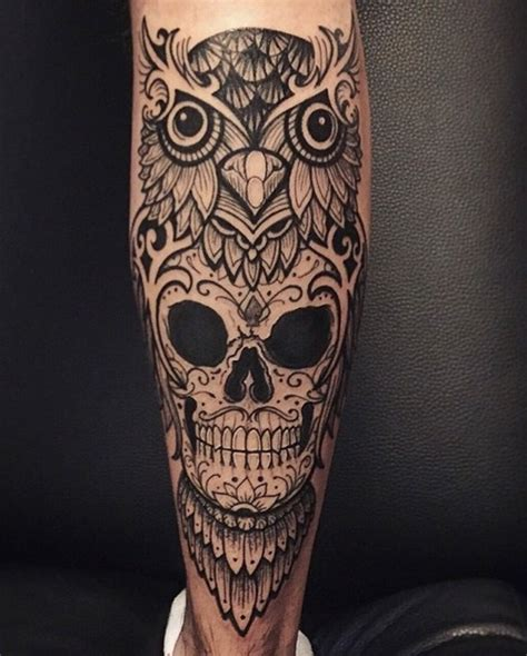 brown ink owl tattoo on leg 58 best skull owl tattoos collection