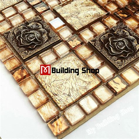 gold glass tile backsplash aliexpress buy yellow gold glass mosaic kitchen