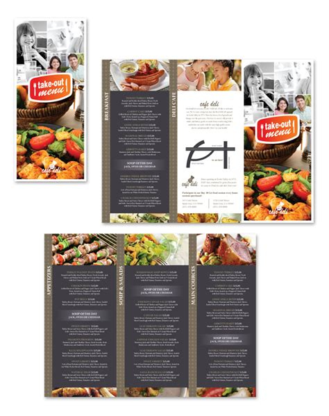 new cafe deli take out tri fold menu template