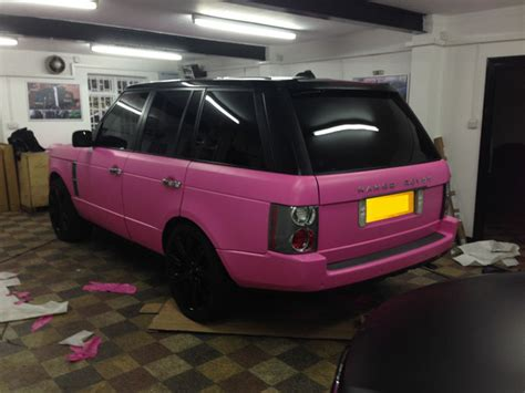 range rover pink and black range rover wrapped matte pink colour change from black