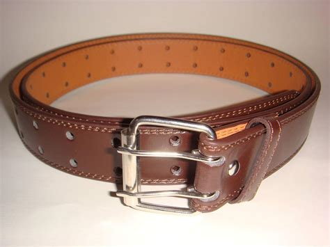 big brown leather belt two row size 46 48