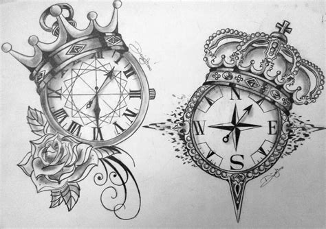drawn clock compass pencil and in color drawn clock compass