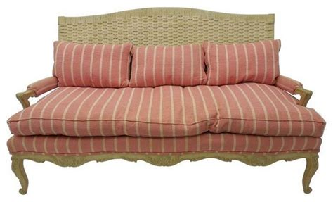 farmhouse sofa pre owned woven wicker back french country sofa