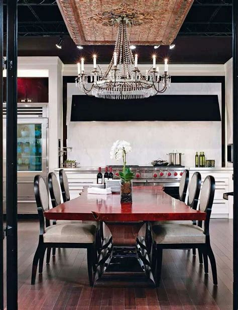 versatile and bold red kitchen designs kitchen with a bold red table with black and white chairs