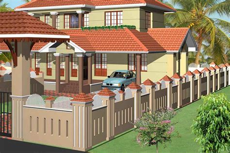 new boundary wall design in kerala including style house