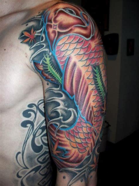 25 Captivating Japanese Sleeve Tattoos Creativefan Coy Fish Sleeve Tattoos
