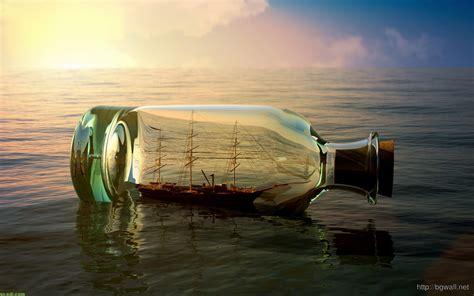 craft work wallpaper free download 3d art bottle at sea wallpaper download background