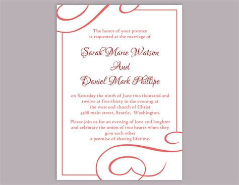 wedding invitation editable templates diy wedding invitation template editable text word file