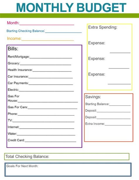 monthly family budget great habit  start    year      organized