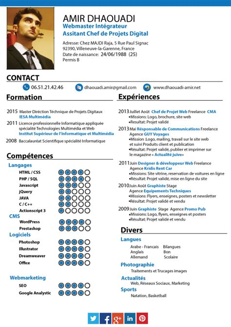 Sample Chef Resume by Cv Amirdhaouadi Assistant Chef Projet Digital Emploi