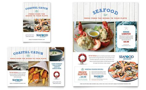 restaurant advertisement template seafood restaurant flyer ad template design