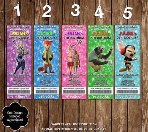 printable zootopia invitations novel concept designs disney zootopia movie character