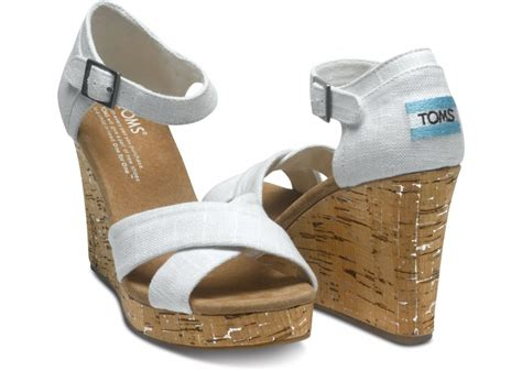 Wedges F 146 White toms ivory linen womens strappy wedges in white lyst