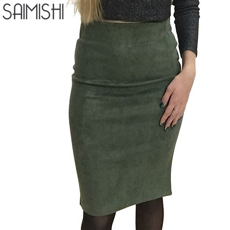 deals fashion suede solid color pencil skirt autumn basic high waist