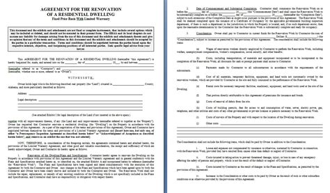 work from home contract template home repair contract template contract agreements