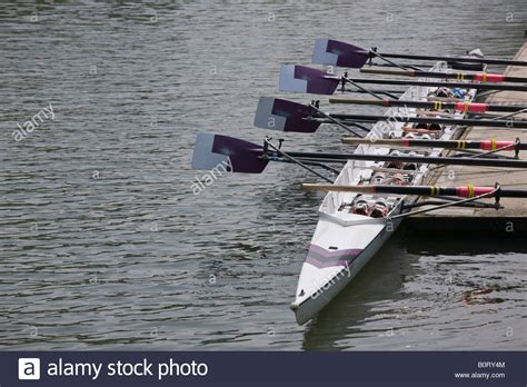 boat rowing oars moored empty rowing boat with oars at eights week oxford
