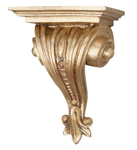 Decorative Wall Corbels Classical Scrolled And Beaded Bracket Wall Shelf Gold