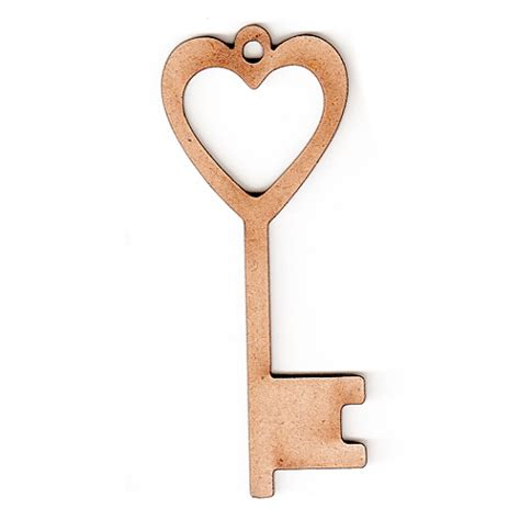 heart key wood shapes for altered art and craft projects