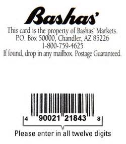 Bashas Thank You Card