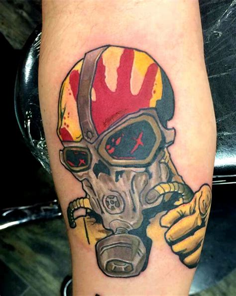 five finger death punch tattoos skull with a gas mask five finger punch by