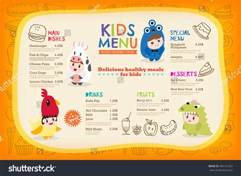 Cute Colorful Kids Meal Menu Placemat Stock Vector 485101252 Shutterstock Placemat Menu Templates