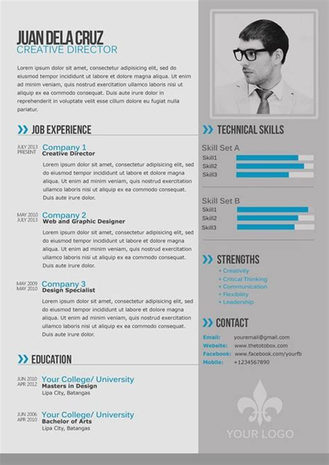 contemporary resume template images free free modern and simple resume cv psd template thetotobox