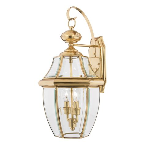 Lantern L by Newbury Large Solid Brass Wall Lantern In A Polished Brass