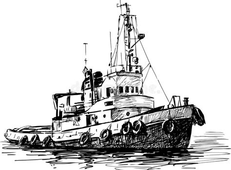 boat in river drawing industrial boat stock vector illustration of drawing