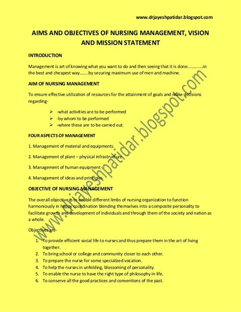 mission statement objectives aims and objectives of nursing management vision and
