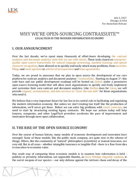 Why We Re Open Sourcing Contraxsuite Our Open Source Contract Analyt Sourcing Agreement Template