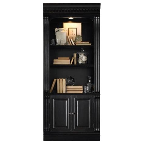 black bookcase with doors furniture telluride bunching bookcase with doors in