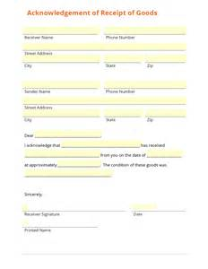 receipt of goods template business form template gallery