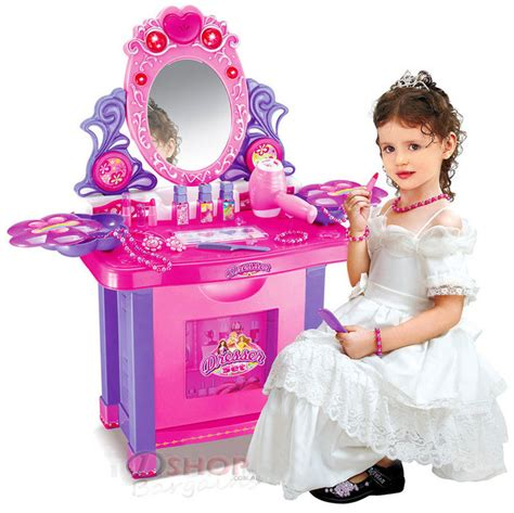 dresser make up vanity table play set with light