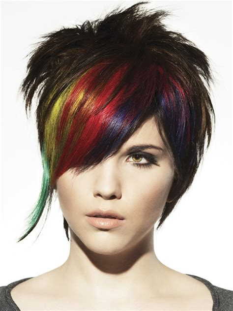 colorful haircut rainbow color medium punk hairstyle for women some