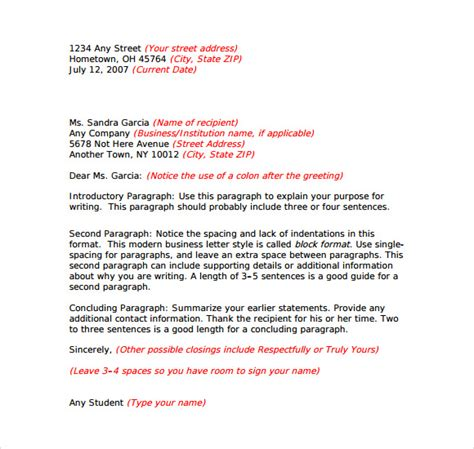 friendly cover letter business letter format sle 8 free documents