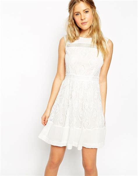 Minidress With Cotton Materials J56903 image 1 of asos premium mini dress in lace bridesmaid dresses cotton fabrics
