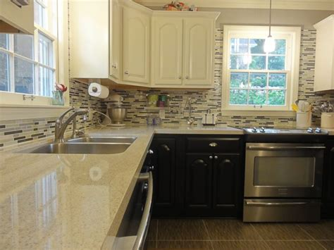 two tone kitchen cabinets espresso ours two tone kitchen cabinets stainless appliances quartz