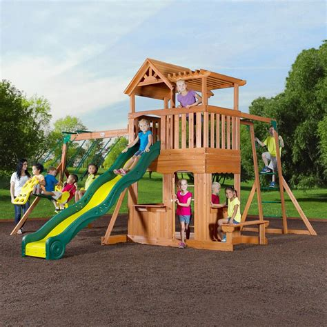 swing sets thunder ridge cedar swing play set children playset