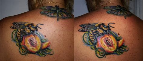 bee and peach tattoo by marinaalex on deviantart