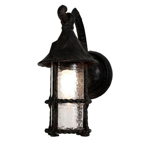 Tudor Outdoor Lighting Pair Of Dramatic Antique Wrought Iron Tudor Lantern Sconces With Granite Glass C 1920s Nsp741