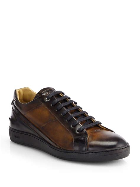 leather sneakers fendi antiqued leather lace up sneakers in black for