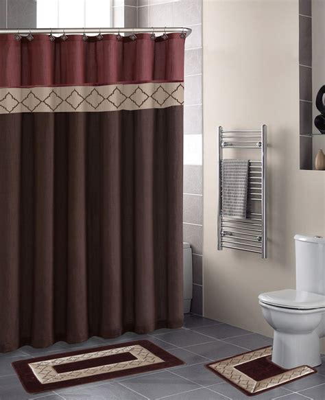 Home Dynamix Designer Bath Shower Curtain And Bath Rug Set And Brown Bathroom Sets
