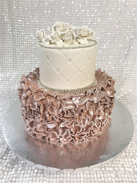 what should a bridal shower cake say ivory and opal ruffle bridal shower cake palermo s custom cakes bakery